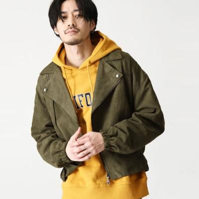 翻領騎士夾克外套寬版落肩仿麂皮(6色) ZIP日本男裝