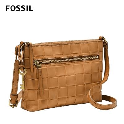 FOSSIL Fiona 真皮寬編織側背包-棕色 ZB1541231
