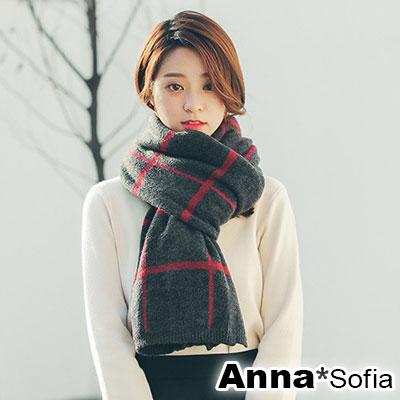 AnnaSofia 手感毛料絨格 厚織仿羊絨大披肩圍巾(深灰系)