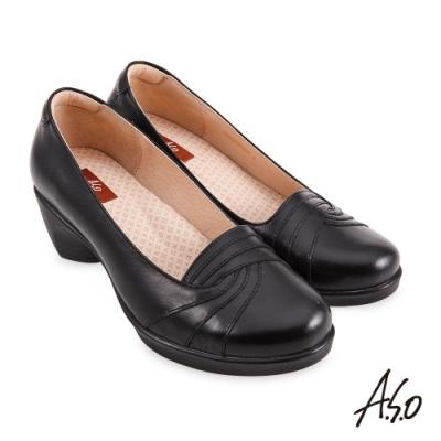 A.S.O  職場通勤 紓壓氣墊簡約線條珠光真皮通勤鞋-黑