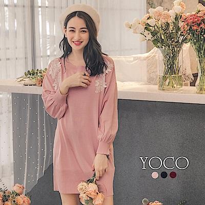 東京著衣-yoco 微糖美人花朵刺繡長版針織洋裝-S.M.L(共三色)