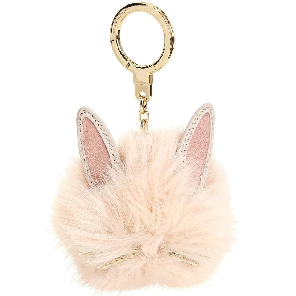 Kate Spade 毛茸茸兔子鑰匙圈(粉膚色)
