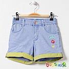 bossini女童-牛仔反折短褲淡靛藍