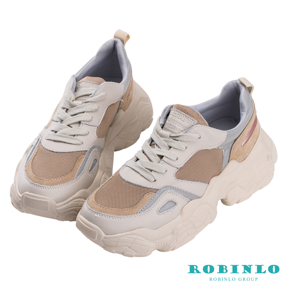 Robinlo 復古經典款後底老爹鞋 杏