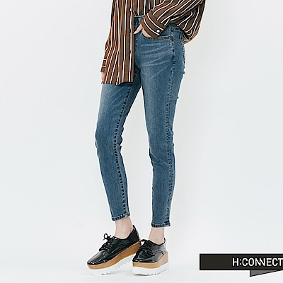 H:CONNECT 韓國品牌 女裝-微彈合身水洗牛仔褲-藍