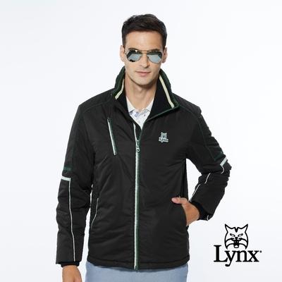 【Lynx Golf】男款保暖防風鋪棉兩袖配色拉線設計胸袋款長袖立領外套-黑色