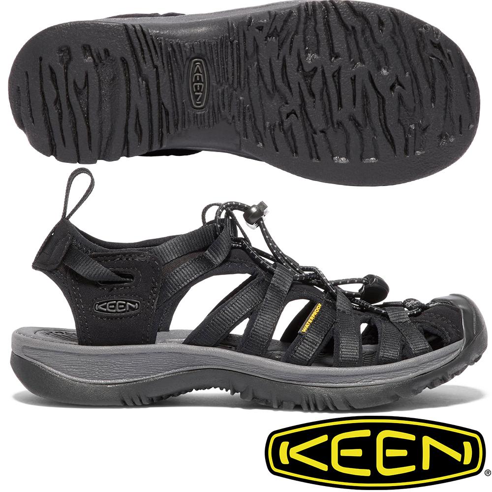 KEEN 1018227黑灰 Whisper 女戶外專業護趾涼鞋
