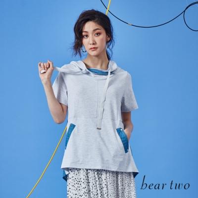 beartwo-剪接撞色帽T-灰