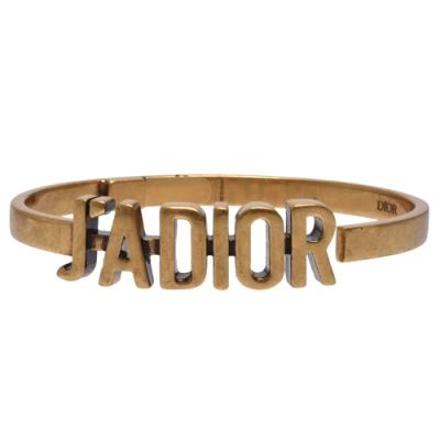 DIOR 經典J ADIOR LOGO鍍金復古金屬手環(金)