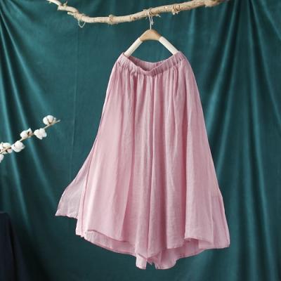 復古雙層開叉棉麻寬鬆休閒顯瘦七分褲子-設計所在