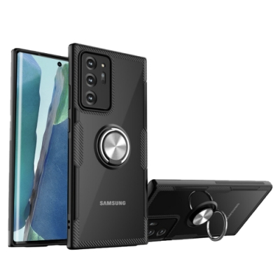 三星 Galaxy Note 20 Ultra 磁吸指環支架 防摔氣囊 桌面手機架 手機殼 黑色 (Samsung Note 20 Ultra手機殼 Note 20 Ultra保護殼)