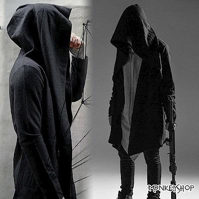 Monkey Shop 刺客教條暗黑風連帽斗篷長版大衣/刷毛外套罩衫