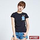 5th STREET 丹寧口袋印花短袖T恤-女-黑色