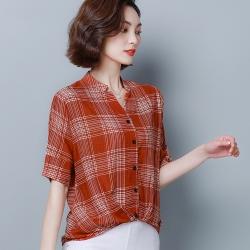 ALLK 格紋棉麻襯衫上衣 共3色(尺寸M-XXL)