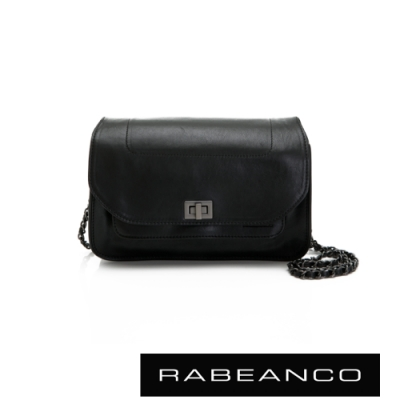 RABEANCO 迷時尚牛皮系列鍊帶雙層轉釦方包(大) 黑