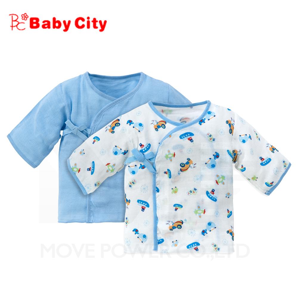 【任選】娃娃城BabyCity-超柔紗布肚衣-藍(二入)