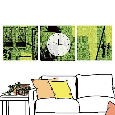 美學365 三聯 時尚無框畫 時鐘掛畫-現代風格2 30x30cm