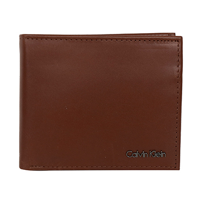 Calvin Klein焦糖色軟質真皮釦式零錢袋雙折短夾
