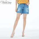Victoria 中高腰天絲棉微彈短褲-女-淺藍