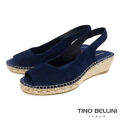 Tino Bellini 西班牙進口簡約麂皮魚口麻編楔型涼鞋 _ 藍