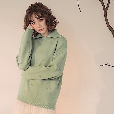 純色織紋鉤花襯衫領柔軟針織長袖毛衣/上衣-OB大尺碼