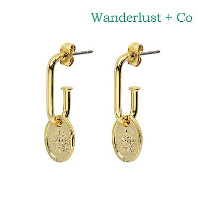Wanderlust Co 澳洲時尚品牌 SOLIS太陽玫瑰垂墜式耳環 金色