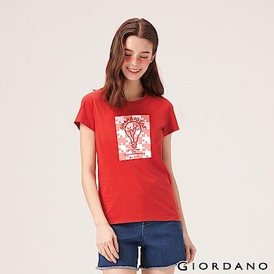 GIORDANO 女裝英文標語印花短袖T恤-68 高貴紅