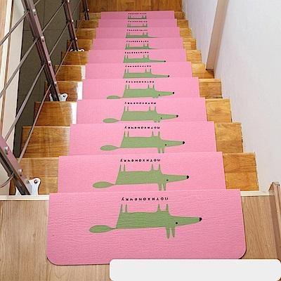 半島良品 可重覆黏貼樓梯止滑墊10入-狐狸 粉色