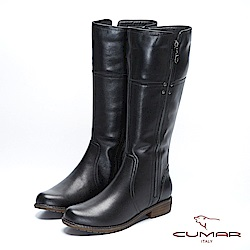 【CUMAR】率性柔美-簡約線條側邊拉鍊裝飾長靴