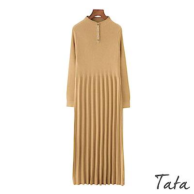 立領百褶針織洋裝 共二色 TATA