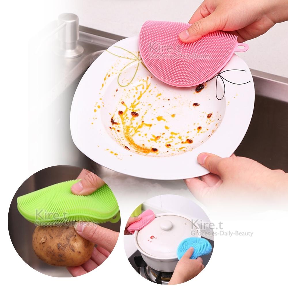 超柔軟矽膠清潔洗碗刷 蔬果刷隔熱墊-超值3入 贈金剛砂海綿 kiret