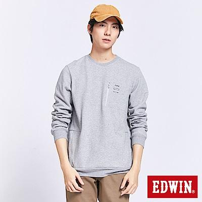 EDWIN 潮流機能 3D立體長袖T恤-男-麻灰