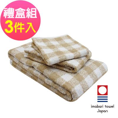日本今治  純天然有機棉無染色方毛浴巾禮盒組-方格-秋香綠