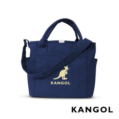 KANGOL 韓版玩色-帆布手提/斜背托特包-深藍 AKG1216-08