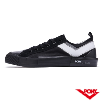 【PONY】Shooter系列低筒帆布鞋-男款-雙勾黑-03M1SH14BK