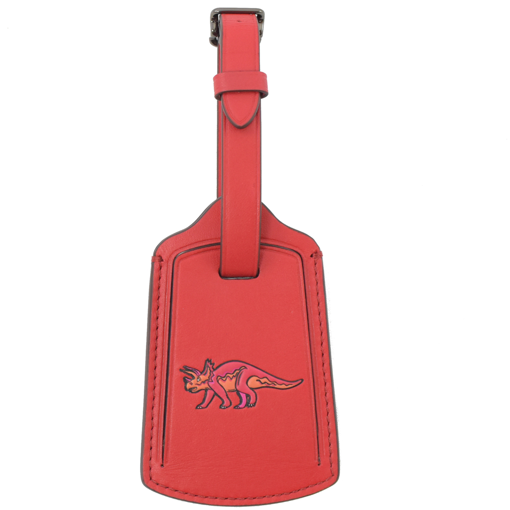 COACH 烙印LOGO牛皮恐龍烙印圖案行李吊牌(紅)