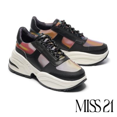 休閒鞋 MISS 21 煥彩藝術異材質拼接綁帶厚底休閒鞋-黑