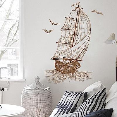 半島良品 DIY無痕壁貼-帆船 XH6224  40x60cm