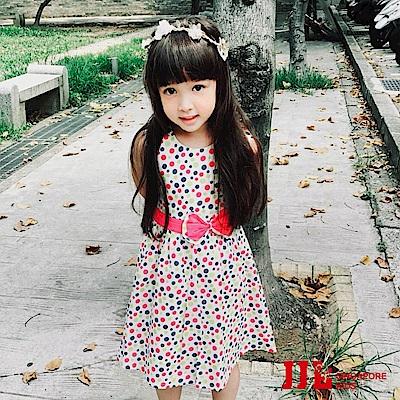 JJLKIDS 普普風彩色小圓點純棉洋裝(藍色)