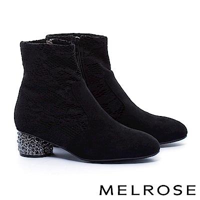 短靴 MELROSE 優雅彈力布拼接蕾絲鑲鑽粗高跟短靴-黑