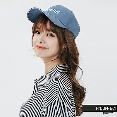 H:CONNECT 韓國品牌 -扣環繡字棒球帽-藍