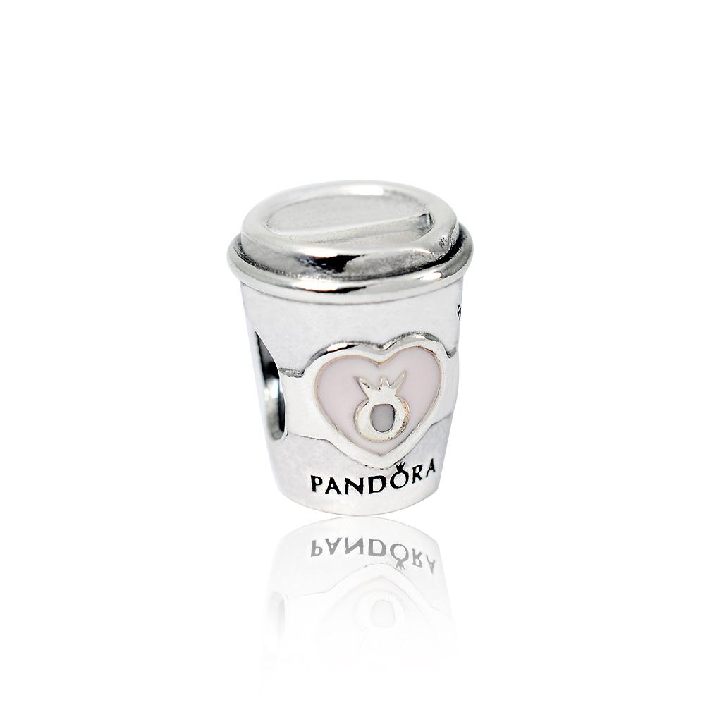Pandora 潘朵拉 標誌咖啡杯 純銀墜飾 串珠