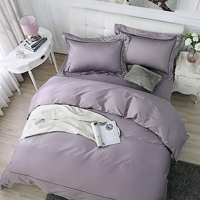 鴻宇 100%精梳棉 300織 純色刺繡 雙人床包枕套三件組