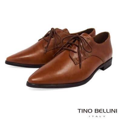 Tino Bellini義大利進口細緻質感牛皮綁帶皮鞋_棕
