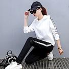 【KISSDIAMOND】韓版立體邊條顯瘦運動套裝白色