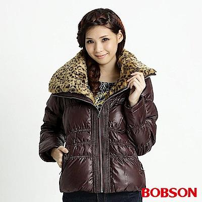 BOBSON女款豹紋大領片羽絨外套咖76