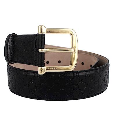 GUCCI Guccissima 釦環牛皮壓紋皮帶(黑色/80cm)