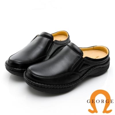 GEORGE 喬治皮鞋 舒適系列 手縫真皮厚底氣墊拖鞋-黑