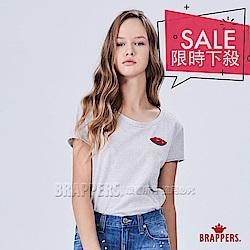 BRAPPERS 女款 紅唇繡花條紋短袖T恤-白底黑條