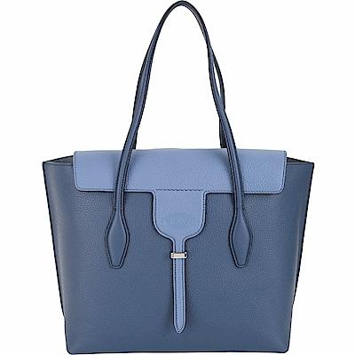 TOD'S New Joy Bag 中款 T釦翻蓋撞色牛皮托特包(藍色)